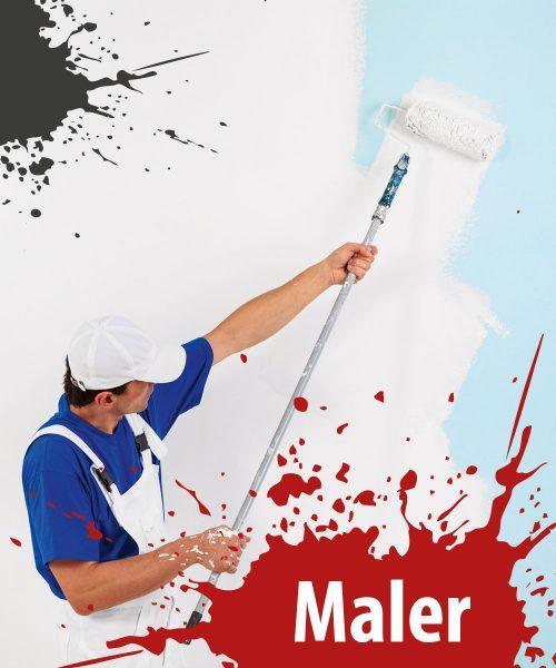 Maler mit Wand und Farbe