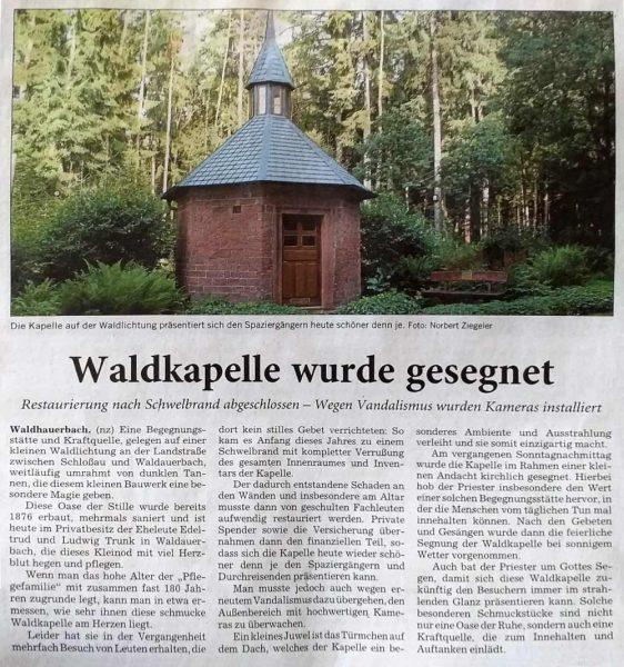 Zeitungsausschnitt Kapelle wurde gesegnet